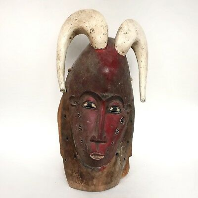 Guro Mask, Horned Red Face, Ivory Coast, West Africa Tribal Art Mask