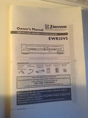Emerson EWR20V5 DVD Recorder VCR Combo owner manual operating booklet