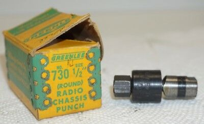 "GREENLEE 1/2"" (Round) Radio Chassis Knockout Punch #730 w/Original Box"