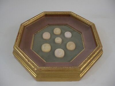 1of2 Octagon Gold Gilt Frame Plaster Intaglio Medallion French Grand Tour Style
