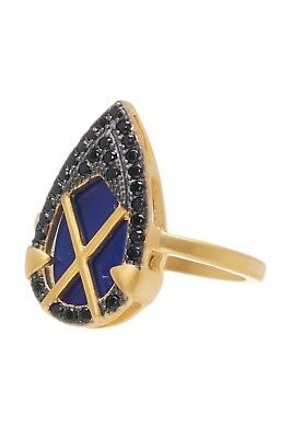 Freida Rothman 14K Gold Plated Sterling Silver CZ Lapis Crisscross Shield Ring