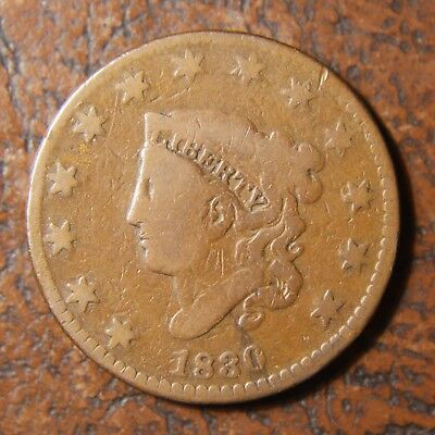 1830 Coronet Head Large Cent, N-8, Large Letters