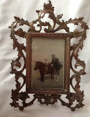 Rare Antique Cast Metal & Glass Picture Frame With Old Photo