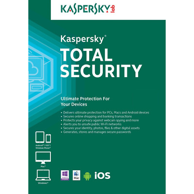 KASPERSKY TOTAL SECURITY 2018 2019 1 PC 1 Year / EUROPE / 1 Device 1 User