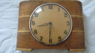 Vintage Art Nouveau deco style wooden clock with coin activated motion