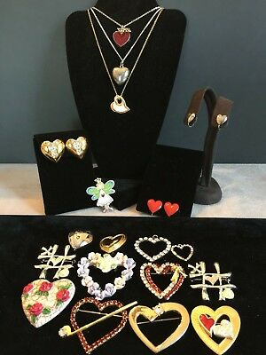 HUGE Vintage Lot 19pcs ALL HEARTs Brooches Earrings Necklaces Pendants 4 Signed