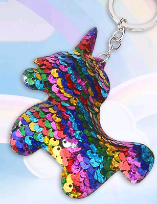 *UK* Rainbow / Silver Reverse Sequin Unicorn Keyring ~ Girls / Ladies Keychain