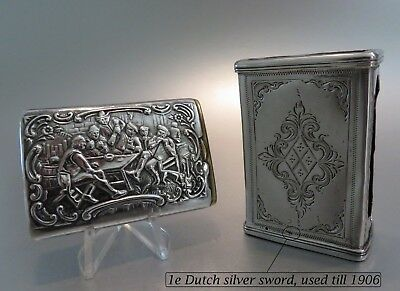 ca 1900: 2 x  (Dutch) solid Silver matchboxes /match holders