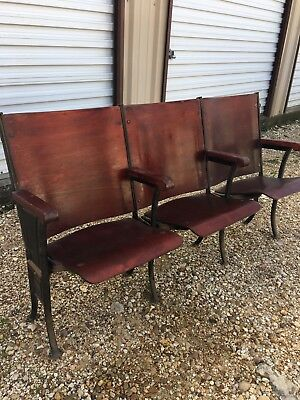 Antique 1924 Wood Theater Seats - set of 3