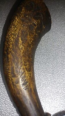 original late 1700s to early 1800s black powder horn