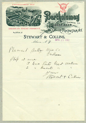 1902 Bartholomay Lager Beer Brewery Letterhead
