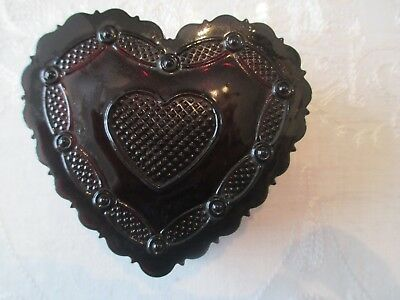 Avon cape cod ruby red heart trinket box with lid 3 3/4 inch