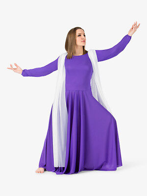 Nwt Bal Togs Adult size XLarge Purple white  Attached scarf Worship Dress BT5195
