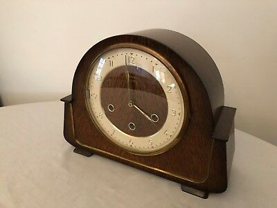 Vintage Smiths 8-day Westminster chime mantle clock with polished wood case
