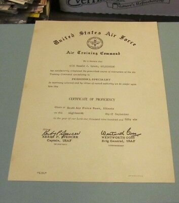 1956 Scott US Air Force Base Illinois Personnel Specialist Certificate with Seal