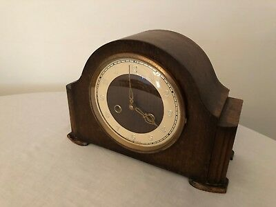 Vintage Smiths Enfield 8-Day striking mantel clock with polished wood case