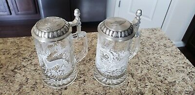 Glass Etched Beer Stein Deer And Trout Germany
