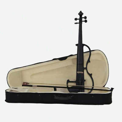 4/4 Full Size Violin Black Electric Violin Student Fiddle Case Bow SET`