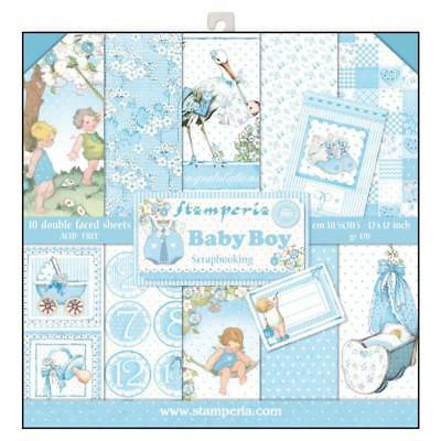 Stamperia Baby Boy 12 x 12 Paper Pack  Scrapbook Papers