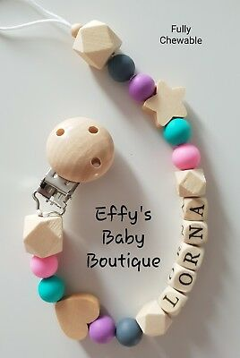 PERSONALISED💜TEETHING🖤Silicone💚Wooden Dummy Clip💗BPA FREE💛Star💜Heart💙