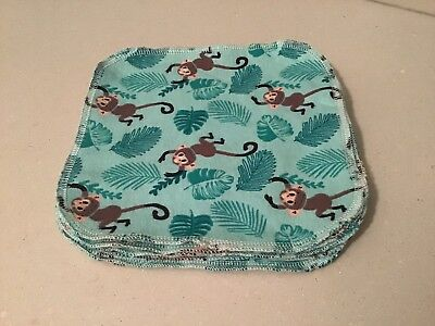 10 Cheeky Monkey Flannel Cotton Baby Wipes Family Cloth Reusable  Washable 19cm