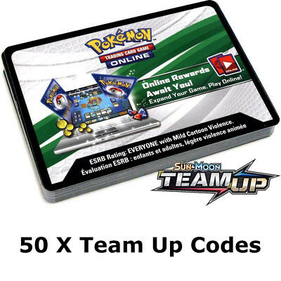50x Sun And Moon Team Up Pokemon TCGO PTCGO TCG Online Codes Sent Fast