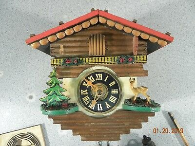 Black Forest Cuckoo Clock for Parts or Repair Small Vintage