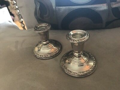 Sterling Candle Sticks Holder Mid Century Real Silver 60 Years Old Romantic