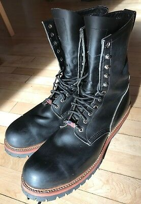 3bd8d962c38 RED WING 2218 Steel Toe Logger Lineman Leather Work Boots Made In ...