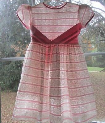 1950's Girls Party Dress 4 -6 Sheer Lace Pink White Fancy