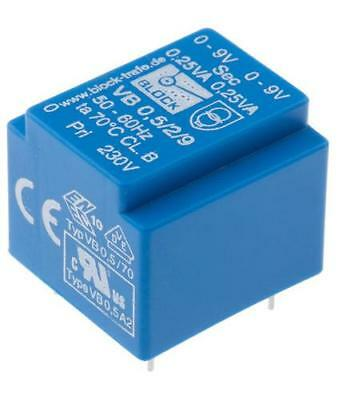 10 x Block VB 0.5/2/9, 9V ac 2 Output Through Hole PCB Transformer 0.5VA 230V In