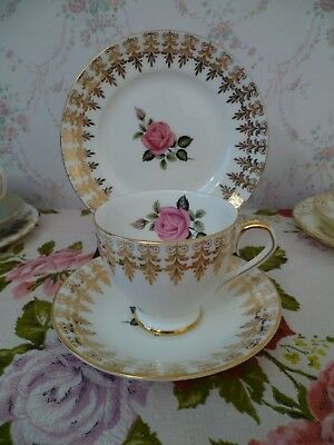 Lovely Taylor & Kent English China Trio Tea Cup Saucer Plate Pink Rose Gilded