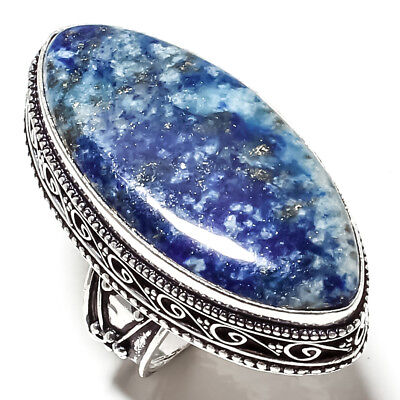 Lapis Lazuli  Vintage Style Gemstone 925 Sterling Silver Jewelry Ring 7.75