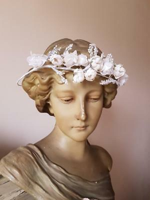 Delightful Antique French Pearlised & Fabric Floral Wedding Tiara c.1890's-1910