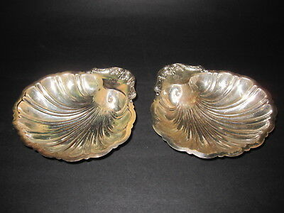 """antique Friedman Silver Co silverpalte pair of 6"""" diameter scallop shell dishes"""