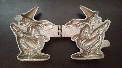 Vintage Antique Pewter Butter Ice Cream Chocolate Mold Halloween Witch on Broom