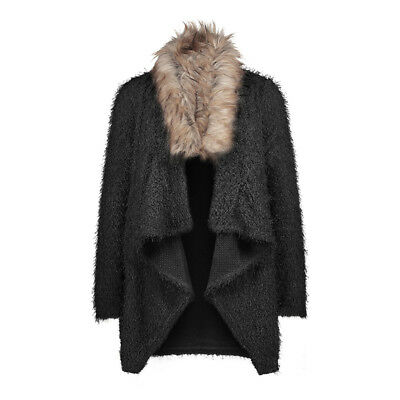 Women's Autumn  Faux Fox Fur Cardigan Plush Coat Trench Long-Sleeve Overcoat G
