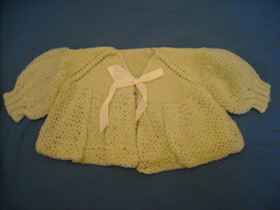 Vintage 1960's Knitted Infant Newborn Baby Gift Sweater Pale Green Never Used