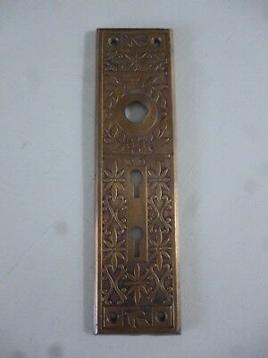 Antique Brass Door Knob Back Plate Double Key Art Nouveau