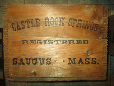 Antique Castle Rock Springs Saugus Mass. Advertising Box Sign Crate
