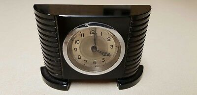 Vintage Rare Art Deco 1920s/30s Black Glass Mantel/Desk Clock - MAGNIFICENT!