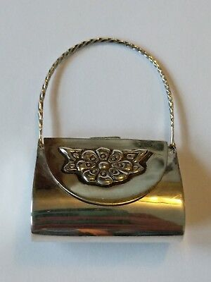 Vintage Sterling Floral Purse Shaped Pill Box