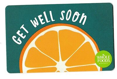 Whole Foods collectible gift card no value mint #002 Get Well Soon