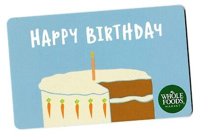 Whole Foods collectible gift card no value mint #001 Happy Birthday