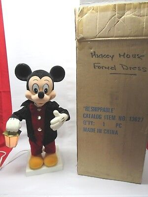 """1996 Disney Animated Musical Lighted Formal Dress 23"""" Mickey Mouse Xmas Display"""