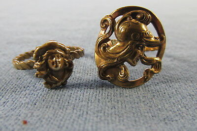 TWO Antique Art Nouveau BEAUTIFUL WOMAN Brass RINGS Size 7-1/2 and 8-1/2