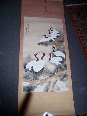 Vintage Chinese hand painted Wall Scroll  signed Silk Herons birds beautiful