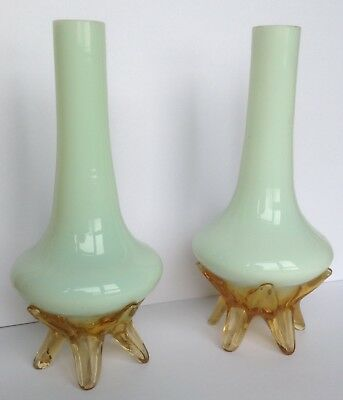 Pair Of Antique Uranium Custard Glass Vases With Applied Amber Feet