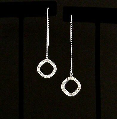 """IAJ"" STERLING SILVER HAMMERED SQUARE Ear Threads Threader Earrings"