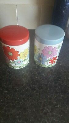 Very Rare Cath Kidston Retro Flowers Ceramic Storage Jars Ex Con